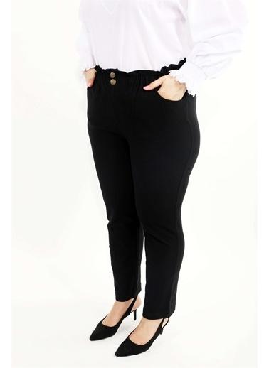 Luokk Pablo Yüksek Bel Önden Fermuarlı Havuç Kesim Kadın Pantolon Siyah